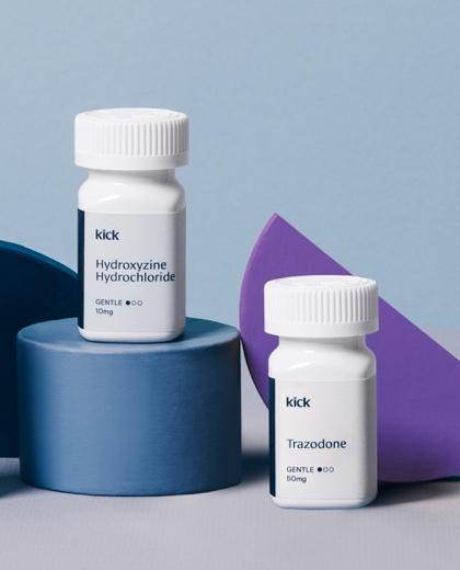 Kick             Hydroxyzine and Trazodone trial sleep prescription bottles